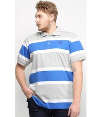camisa polo listrada gajang euro finland plus size masculina