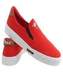 tênis sapatenis sapato casual iate sem cadarço polo joy vermelho