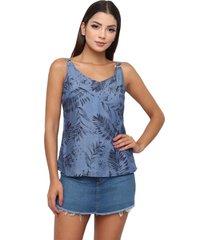 blusa sisal jeans regata jeans floral azul - azul - feminino - liocel - dafiti