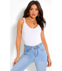 knotted strap rib tank top, ivory