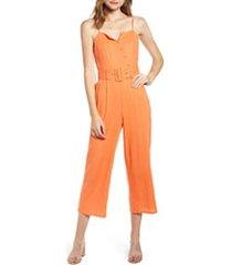 women's moon river belted crop jumpsuit