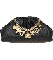 moschino charm detail cluches bag