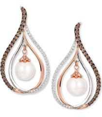le vian chocolatier fresh water pearl (8mm) and diamond (7/8 ct. t.w.) drop earrings in 14k white and rose gold
