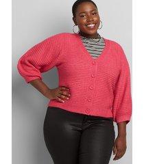 lane bryant women's blouson-sleeve button-front cardigan 18/20 pink peacock