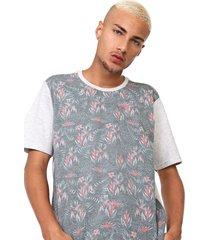 camiseta fiveblu manga curta floral cinza - cinza - masculino - algodã£o - dafiti
