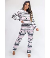 pijama de manga longa com capuz e calça estampa digital (pixel love) - ref: k2810