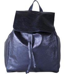 mochila cuero brillo azul mailea