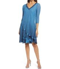 women's komarov beaded neck tiered chiffon & charmeuse dress, size small - blue