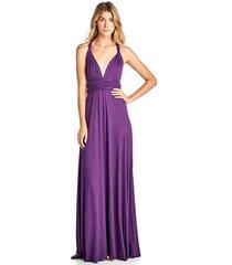 long purple convertible maxi infinity spandex bridesmaid wedding gown dress