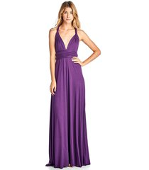 long purple convertible maxi infinity spandex bridesmaid wedding gown dress
