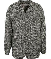 valentino ruffle trimmed tweed jacket