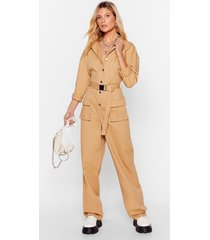 womens pull yourself together denim belted boilersuit - stone