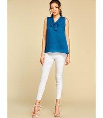yoins cinta azul anudada diseño blusa sin mangas con cuello de pico