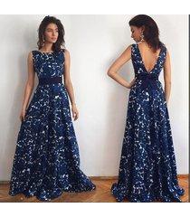 fashion women's floral print velvet backless sleeveless long evening dress nw260