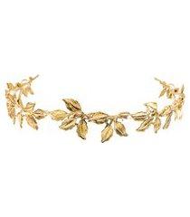tiara folhas fina - dourado