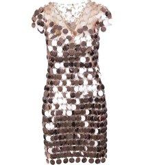 paco rabanne pink short sparkle dress