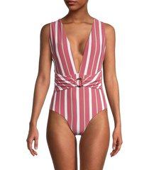 letarte women's striped one-piece swimsuit - multi stripe - size xs