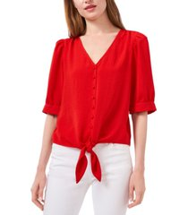 riley & rae puff-sleeve tie-front top, created for macy's