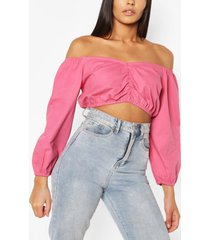 gathered front balloon sleeve denim crop top, rose pink