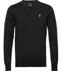 m classic v-neck stickad tröja v-krage svart peak performance