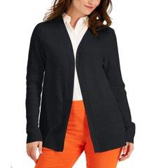 karen scott cotton horizontal-rib cardigan sweater, created for macy's