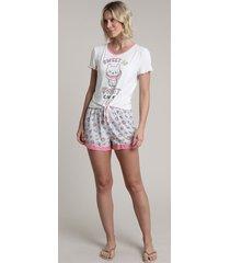 """pijama feminino gato """"sweet as sweet can be"""" com nó manga curta off white"""