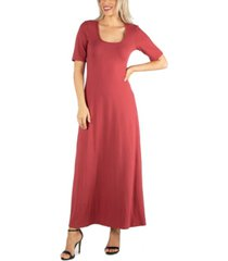 24seven comfort apparel women's casual maxi dress with sleeves