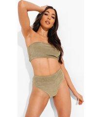 badstoffen mix & match bikini broekje met hoge taille, khaki
