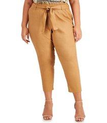 calvin klein plus size tie-belt cropped pants