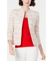anne klein striped mandarin-collar blazer