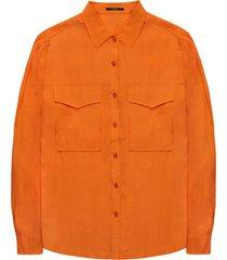 10 feet blouse withcollar in dobby dot cinnamon