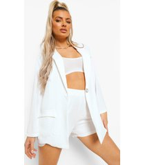 oversized satijnen blouse en baggy shorts, ivory