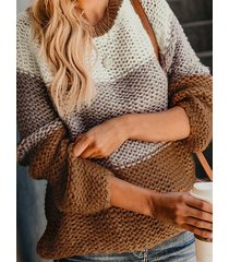 khaki color block round neck knit sweater
