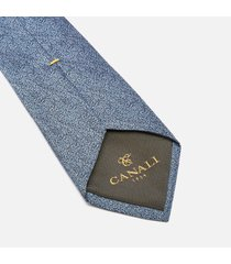 canali men's fuzz pattern silk tie - mid blue