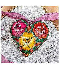 hand painted wood pendant necklace, 'burgeoning heart in mauve' (mexico)