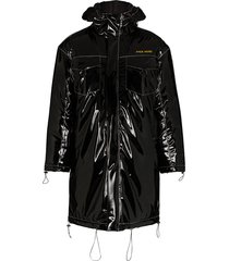 pyer moss vinyl hooded parka coat - black