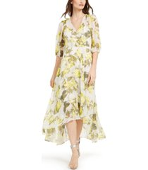 calvin klein balloon-sleeve surplice maxi dress