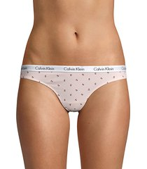 printed stretch-cotton thong