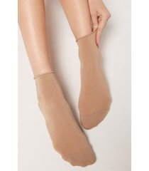 calzedonia light cotton socks with comfort cuff woman nude size 36-38