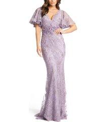 mac duggal flutter-sleeve gown