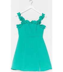 womens hit ruffle square neck a-line dress - bright green