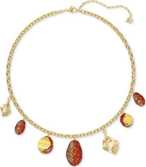 "swarovski two-tone crystal charm statement necklace, 14-7/8"" + 2"" extender"