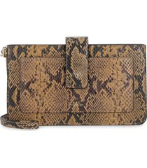 a.p.c. albane python print leather clutch