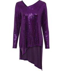 maglia glitterata asimmetrica (viola) - bodyflirt