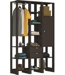 guarda roupa closet 3 peças 1 cabideiro 2 gavetas 1 porta c/ 2 prateleiras e 11 nichos yes nova mobile