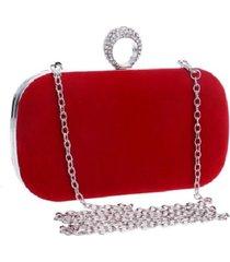 bolsa clutch liage alça removível veludo metal strass cristal pedra prata e vermelha - kanui