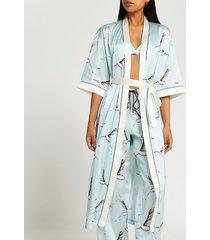 river island womens blue bird print kimono
