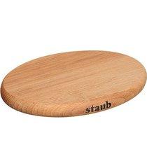 descanso de panela redondo madeira imantada 16,5 cm laranja staub