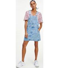 tommy hilfiger women's recycled cotton critter dungaree dress denim light - xxs