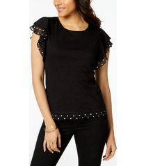 maison jules printed-trim flutter-sleeve top, created for macy's
